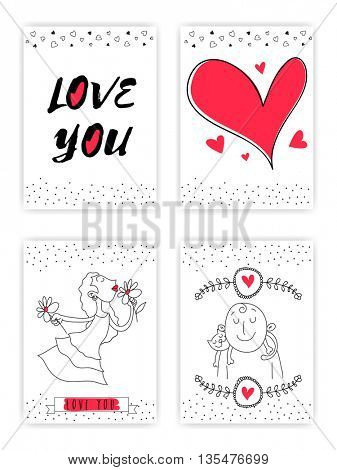 Collection of four Love Cards, Set of Love Design elements, Cute hand drawn doodle Greetings, Invitation design for Wedding, Save the Date, Valentine's Day and Birthday celebration.
