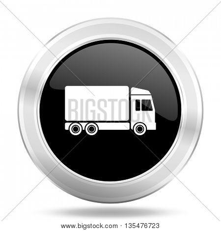 delivery black icon, metallic design internet button, web and mobile app illustration