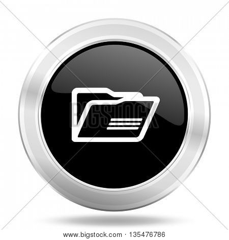 folder black icon, metallic design internet button, web and mobile app illustration