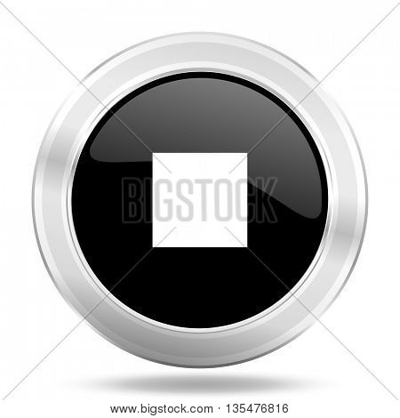 stop black icon, metallic design internet button, web and mobile app illustration