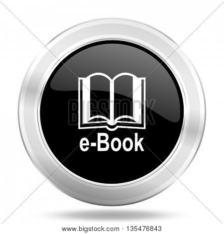 book black icon, metallic design internet button, web and mobile app illustration
