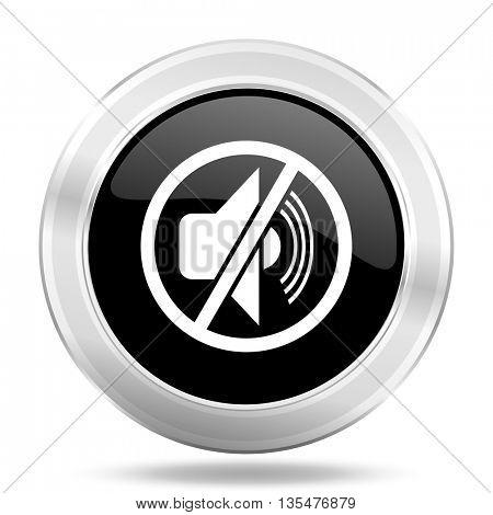 mute black icon, metallic design internet button, web and mobile app illustration