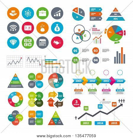 Wifi, calendar and web icons. Money, cash and finance icons. Handshake, safe and currency exchange signs. Chart, case and jewelry symbols. Diagram charts design.