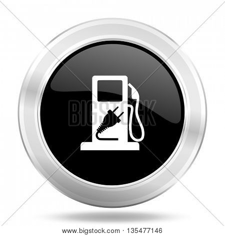 fuel black icon, metallic design internet button, web and mobile app illustration