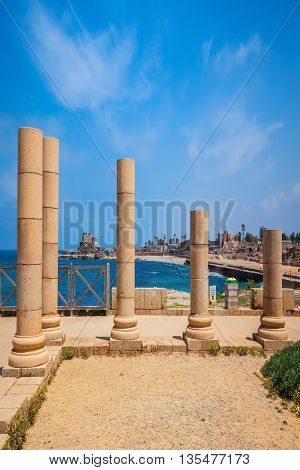 The scenic part of Caesarea National Park.  Ancient columns from the Roman period on Mediterranean coast