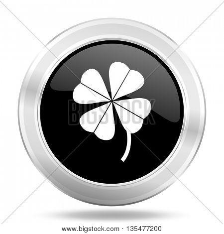 four-leaf clover black icon, metallic design internet button, web and mobile app illustration