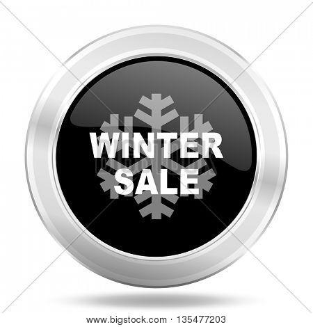 winter sale black icon, metallic design internet button, web and mobile app illustration