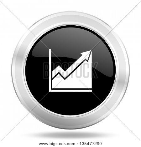 histogram black icon, metallic design internet button, web and mobile app illustration