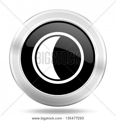 moon black icon, metallic design internet button, web and mobile app illustration