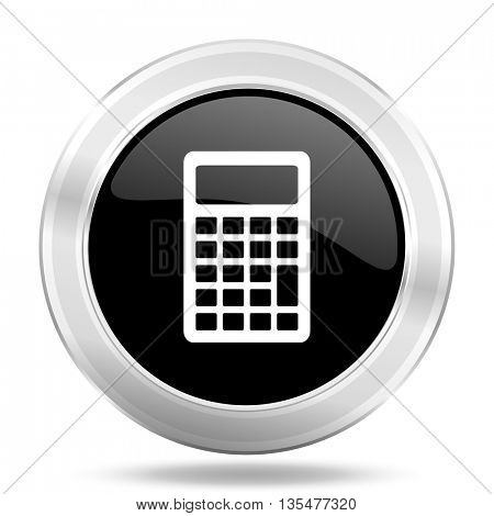 calculator black icon, metallic design internet button, web and mobile app illustration