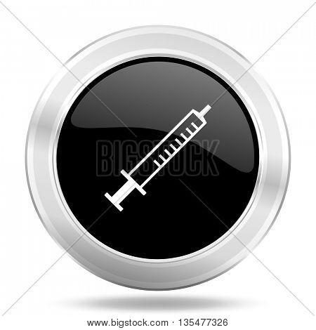 medicine black icon, metallic design internet button, web and mobile app illustration