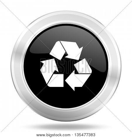 recycle black icon, metallic design internet button, web and mobile app illustration
