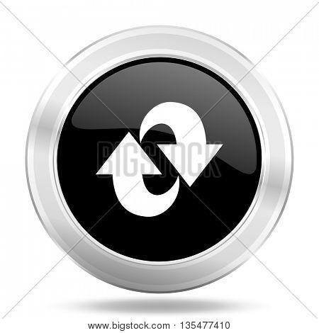 rotation black icon, metallic design internet button, web and mobile app illustration