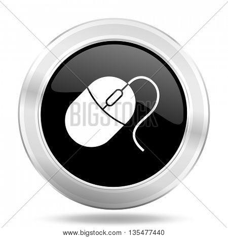 mouse black icon, metallic design internet button, web and mobile app illustration
