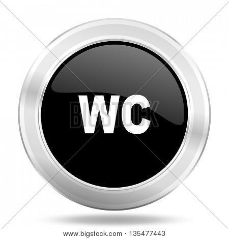 toilet black icon, metallic design internet button, web and mobile app illustration