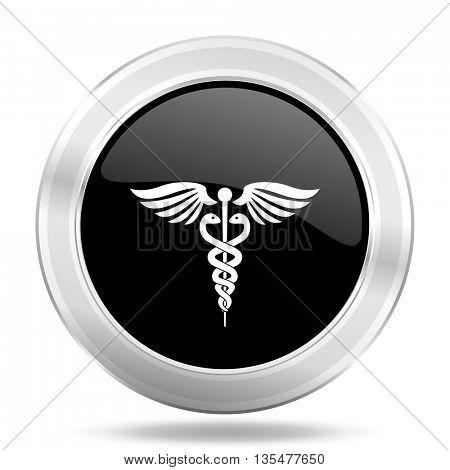emergency black icon, metallic design internet button, web and mobile app illustration