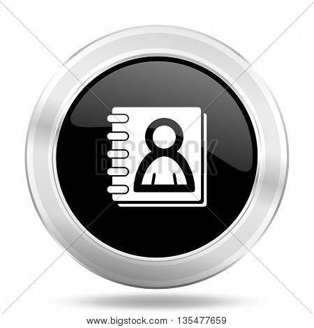 address book black icon, metallic design internet button, web and mobile app illustration