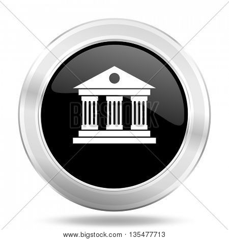 museum black icon, metallic design internet button, web and mobile app illustration