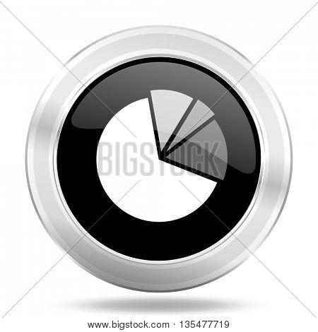 diagram black icon, metallic design internet button, web and mobile app illustration