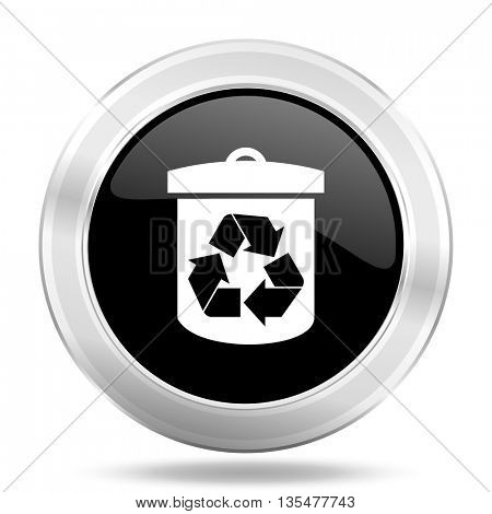 recycle black icon, metallic design internet button, web and mobile app illustration