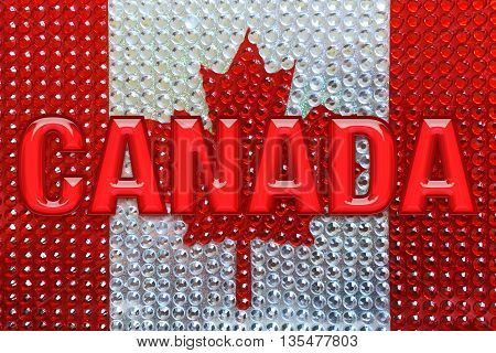Canada flag of diamonds with Canada word