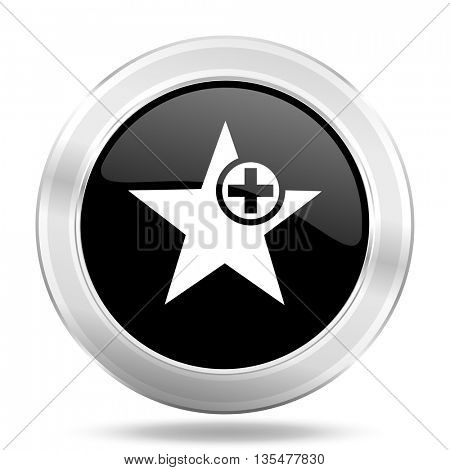 star black icon, metallic design internet button, web and mobile app illustration