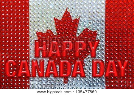 Canada flag of diamonds with words Canada Day
