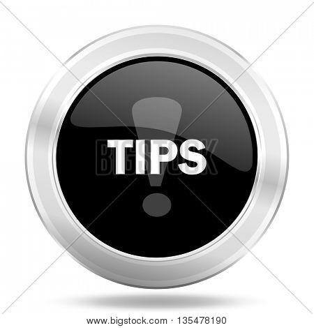 tips black icon, metallic design internet button, web and mobile app illustration