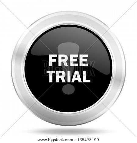 free trial black icon, metallic design internet button, web and mobile app illustration