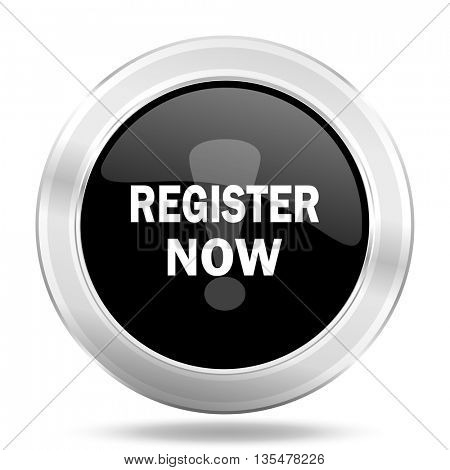 register now black icon, metallic design internet button, web and mobile app illustration