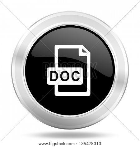 doc file black icon, metallic design internet button, web and mobile app illustration