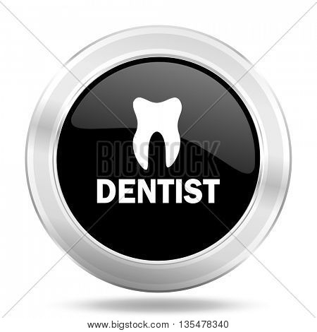 dentist black icon, metallic design internet button, web and mobile app illustration