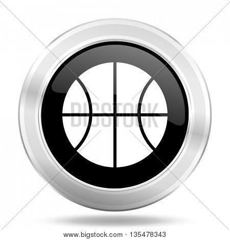 ball black icon, metallic design internet button, web and mobile app illustration