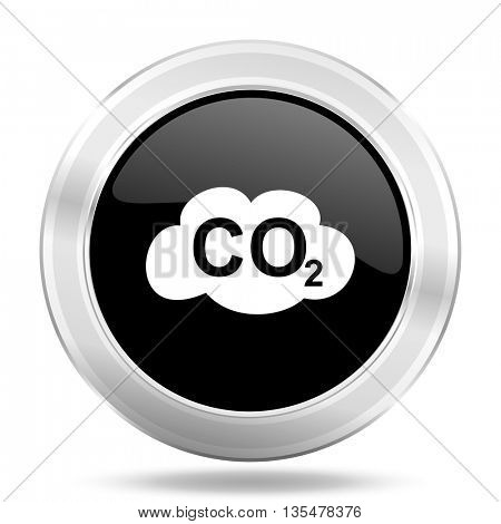 carbon dioxide black icon, metallic design internet button, web and mobile app illustration