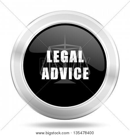 legal advice black icon, metallic design internet button, web and mobile app illustration
