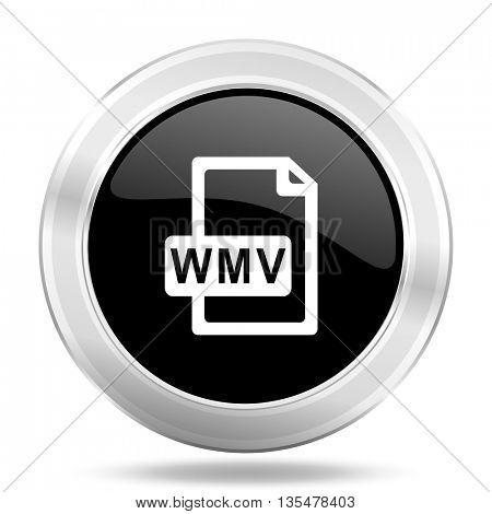 wmv file black icon, metallic design internet button, web and mobile app illustration