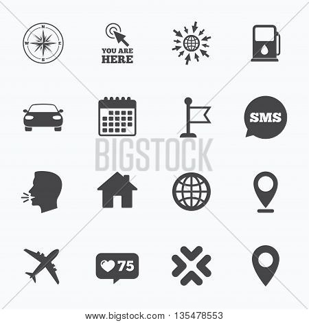 Calendar, go to web and like counter. Navigation, gps icons. Windrose, compass and map pointer signs. Car, airplane and flag symbols. Sms speech bubble, talk symbols.