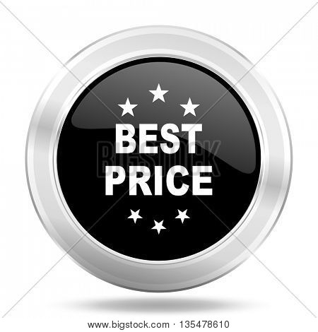 best price black icon, metallic design internet button, web and mobile app illustration
