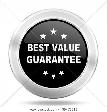 best value guarantee black icon, metallic design internet button, web and mobile app illustration