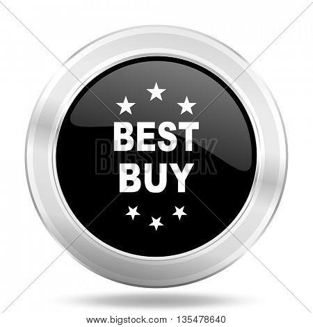 best buy black icon, metallic design internet button, web and mobile app illustration