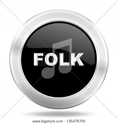 folk music black icon, metallic design internet button, web and mobile app illustration