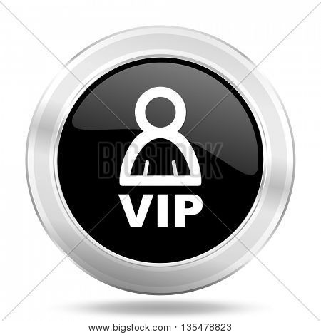vip black icon, metallic design internet button, web and mobile app illustration