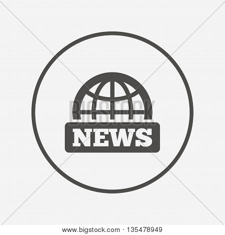 News sign icon. World globe symbol. Flat news icon. Simple design news symbol. News graphic element. Round button with flat news icon. Vector