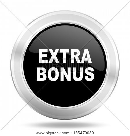 extra bonus black icon, metallic design internet button, web and mobile app illustration