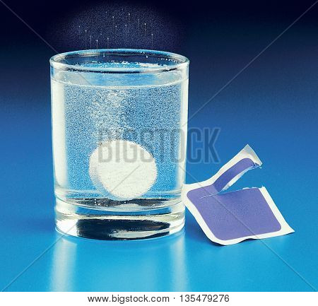 seltzer medication alka fizz blue background wrapper