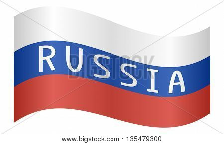 Russian flag with word Russia waving on white background