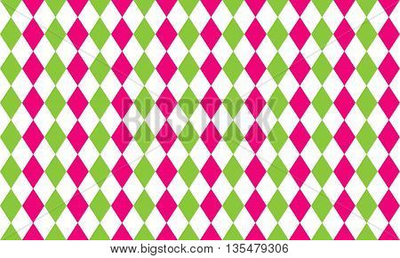 Abstract geometric seamless pattern of rhombus in pink green and white colors