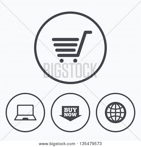 Online shopping icons. Notebook pc, shopping cart, buy now arrow and internet signs. WWW globe symbol. Icons in circles.