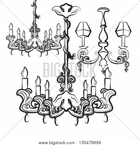 Classic luxury style lamps collection with acanthus floral ornaments. Vector