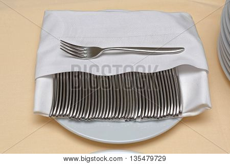 Clean Forks Cutlery Kitchenware Silverware at Plate
